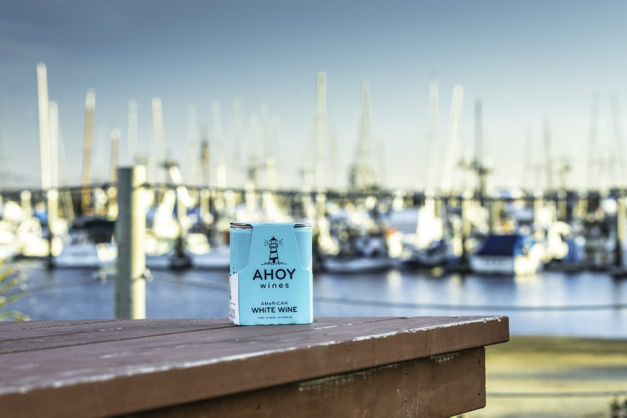 Ahoy wine box on dock