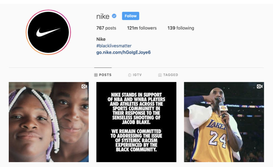 Screenshot of Nike Instagram account as example of brand storytelling