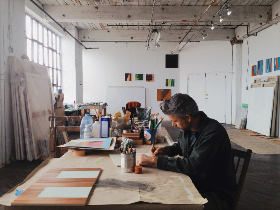 artist in his studio an example of custom visual content