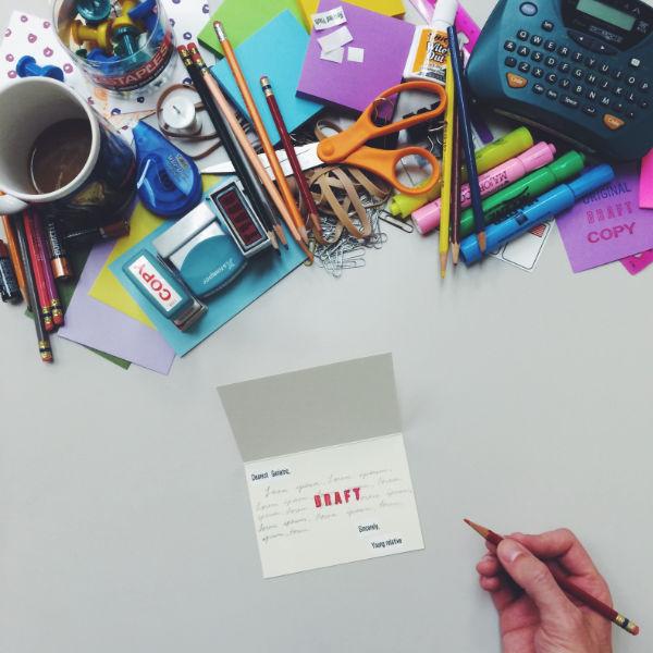 Office supplies on desk - @posesawkwardly