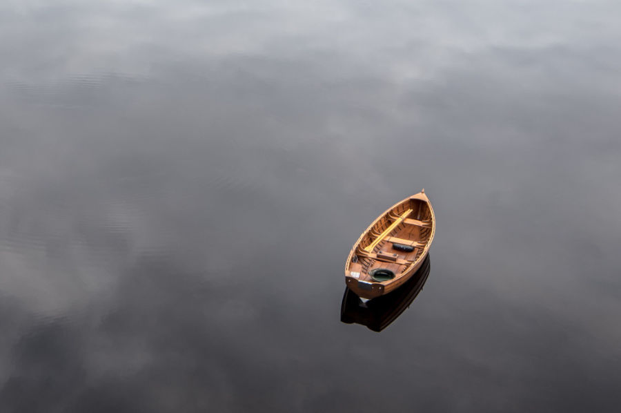 Empty boat in lake