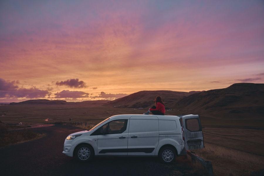 Pretty sunset on a van