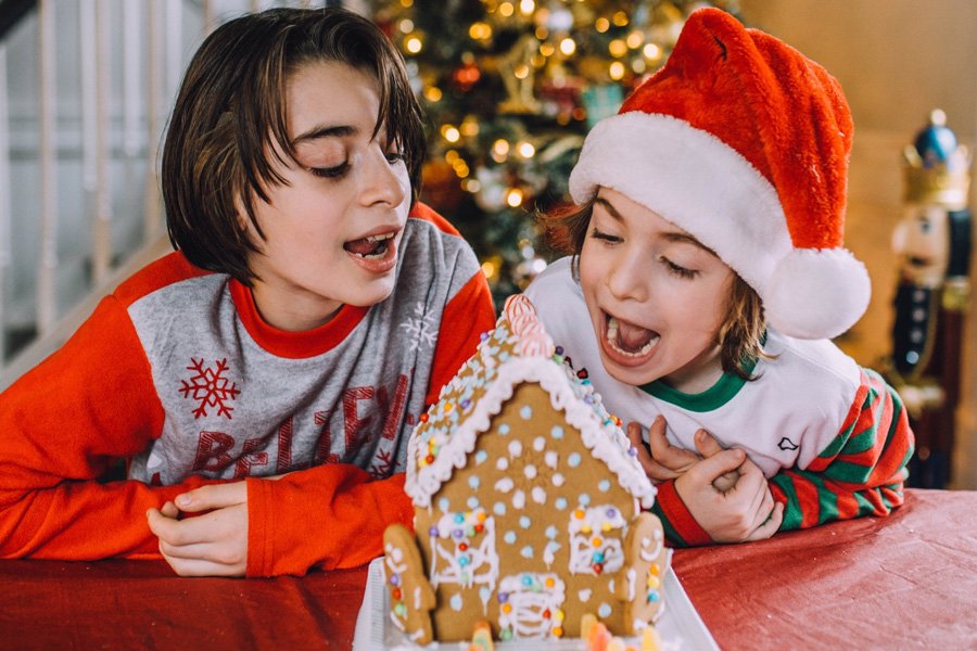 two young boys in awe over gingerbread house