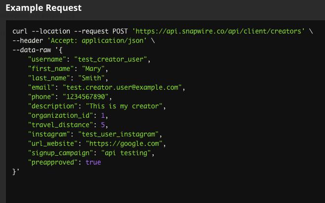Snapwire's API