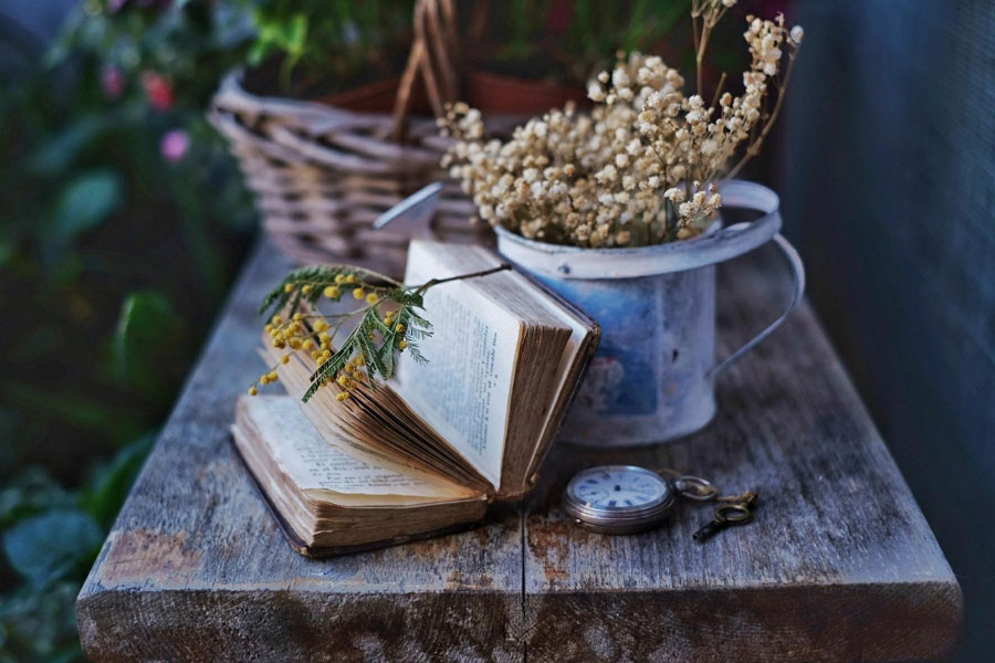 Rustic book with open pages on a table and dried flowers