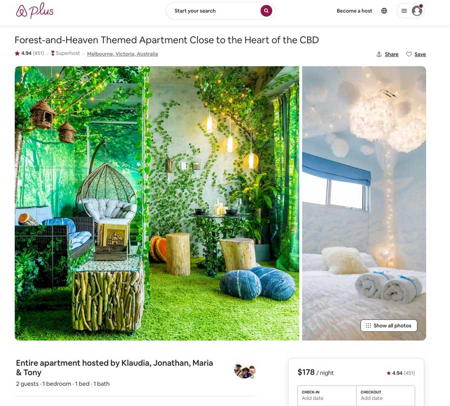 airbnb screenshots of a forest themed room and cloud of heaven room