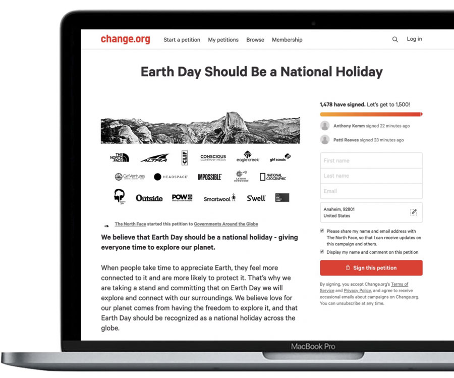 change.org computer screen grab of earth day as a national holiday article