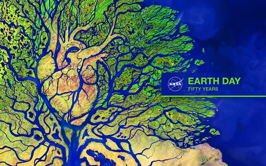nasa earth day satellite art of the earth with a heart shape