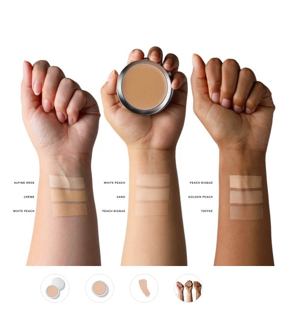pure product image with close up of arms and makeup shade