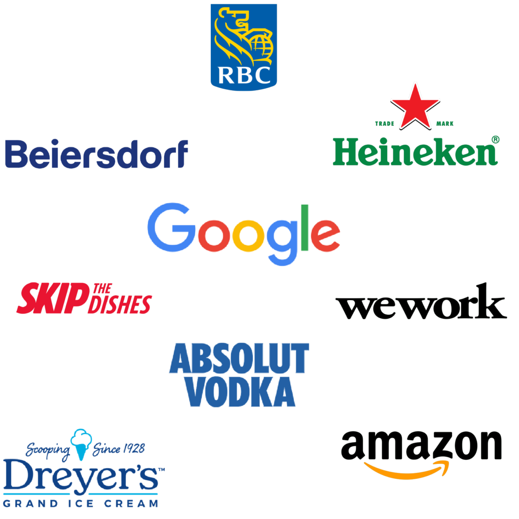 rbc beiersdorf google heinken wework skipthedishes absolut vodka dreyers ice cream amazon logos