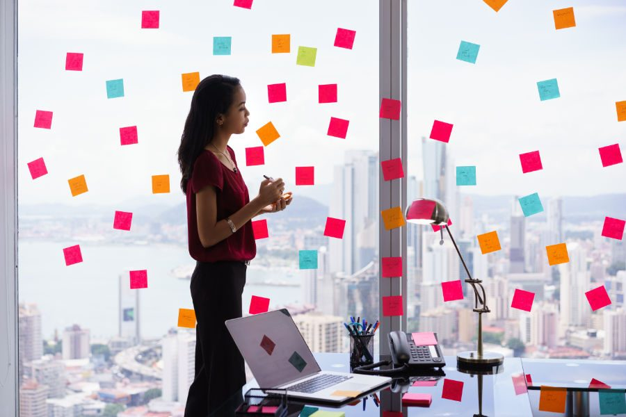 business woman planning visual marketing strategy