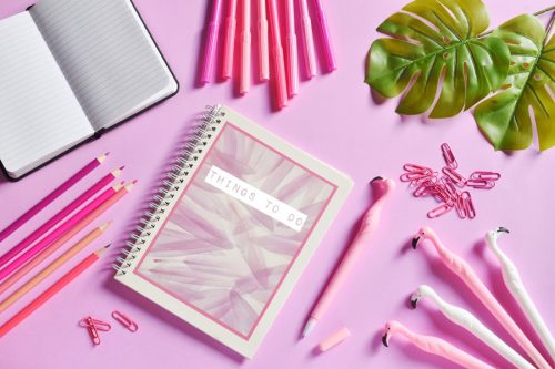 pink products of notebook and pens